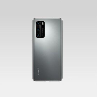 Le téléphone Huawei P40, vu de dos et de face. Il s'agit d'un téléphone intelligent avec un gros module de caméras rectangulaire, comme le Samsung Galaxy S20 Ultra.