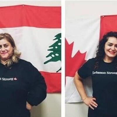 Dina Bakhit et Hamsa Diab sourient à la caméra dans 2 photos apposeés l'une à l'autre. DIna tient un drapeau libanais dans les mains. Les deux femmes ont un drapeau libanais en arrière-plan.