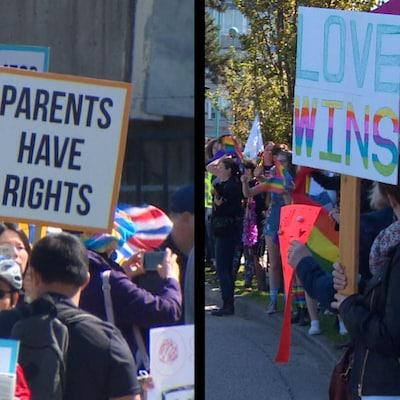 Une dizaine de manifestants montrent des pancartes à la défense des droits de la communauté LGBT.