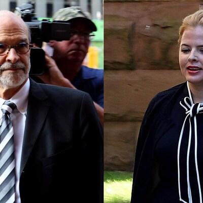 Photo de Livingston et Laura Miller en train de marcher vers le tribunal.