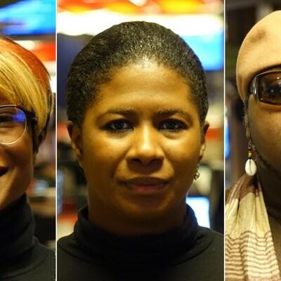 Un montage photo montrant de gauche à droite, Aminata Farmo, Ketcia Peters et César Ndéma-Moussa.