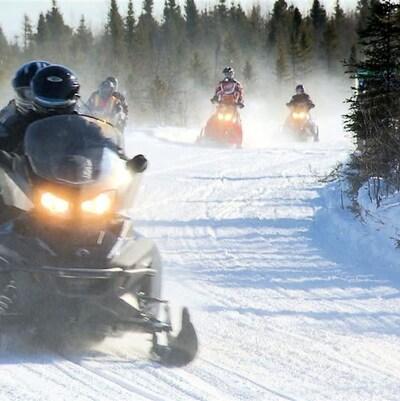 Un groupe de motoneigistes sur un sentier.
