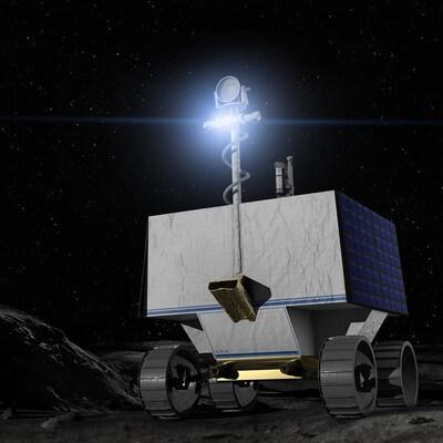 Un véhicule astromobile cubique monté sur quatre roues se déplace sur la surface de la Lune.