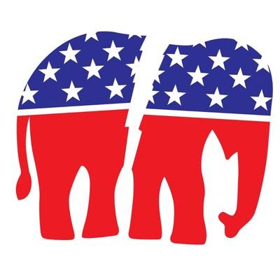 Une illustration d'un éléphant scindé en deux.