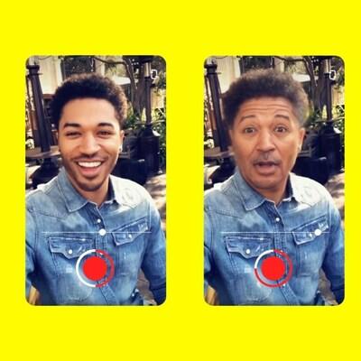 Un homme change d'apparence en se servant de la fonctionnalité Time Machine de Snapchat.