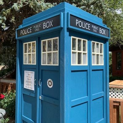 TARDIS au croisement de deux rue.