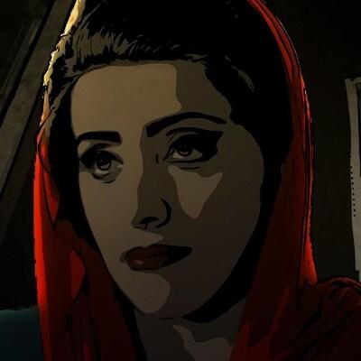 Une femme est dans une auto, vêtue d'un voile rouge sur la tête, dans une scène du film d'animation  Téhéran tabou .