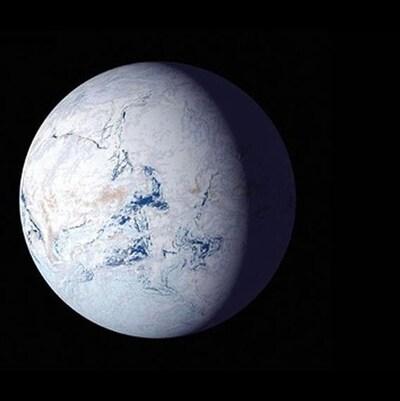 Illustration de la Terre recouverte de glace  il y a 700 millions d'années.
