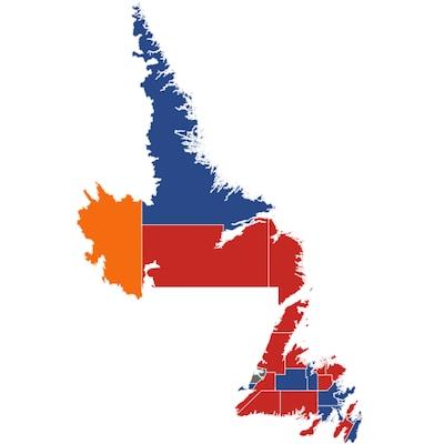 Carte électorale représentant les résultats dans chacune des circonscriptions lors des élections à Terre-Neuve-et-Labrador en 2019.