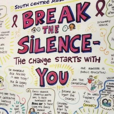 Une affiche encourage les participants à briser le silence à propos de la violence conjugale.