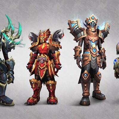 Quatre personnages du jeu vidéo World of Warcraft, des monstres vêtus d'armures colorées.