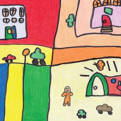 Un dessin enfantin coloré.