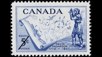Timbre représentant le cartographe David Thompson (1957)