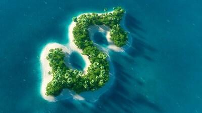 Une île en forme du symbole du dollar