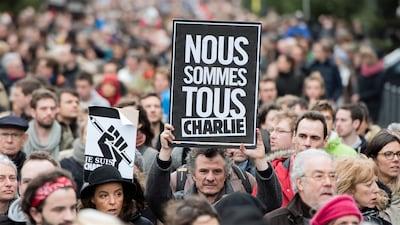 Manifestation contre la terreur après les attentats de Charlie Hebdo en janvier 2015