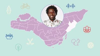 L'animateur Meeker Guerrier et l'arrondissement de Mercier—Hochelaga-Maisonneuve sur la carte de Montréal