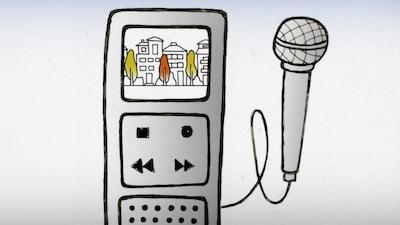 Le dession d'un micro et d'un magnétophone