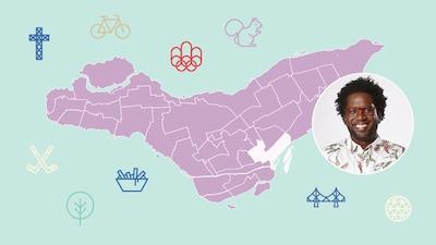 L'animateur Meeker Guerrier et l'arrondissement de Ville-Marie sur la carte de Montréal