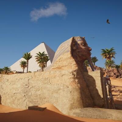 La reconstitution du Sphinx de Gizeh pour le jeu  Assassin's Creed Origins .