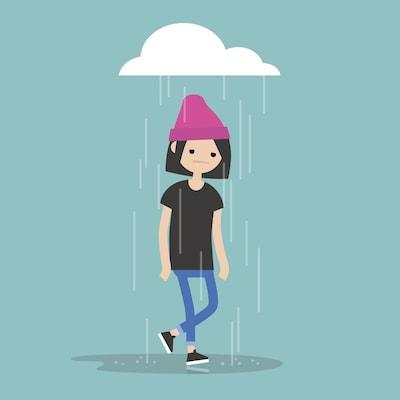 Illustration d'une jeune femme qui se promène sous un nuage de pluie.