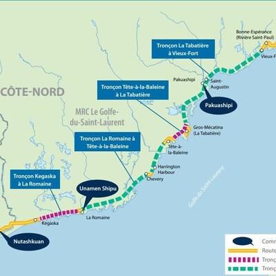 La carte des tronçons de route 138 sur la Côte-Nord où des travaux auront lieu.