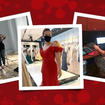 Montage de plusieurs photos d'une jeune fille qui essaie une robe, qui travaille sur un ordinateur portable et dans une pièce en rénovation.