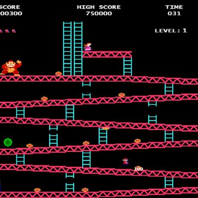 Capture d'écran du premier jeu Donkey Kong.