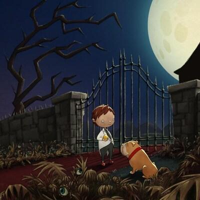 L'image représente une capture d'écran du jeu vidéo Gauche-droite : le Manoir. On y voit une petit garçon et un chien dans un monde hanté.