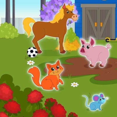 On voit un chien, une souris, un chat, un cheval, un cochon et une mouffette