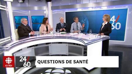 Sur le plateau de l'émission 24|60, Gaétan Barrette (Parti libéral du Québec), Diane Lamarre (Parti québécois), François Paradis (Coalition avenir Québec) et Amir Khadir (Québec solidaire) répondent aux questions, aux inquiétudes et aux commentaires de la population.