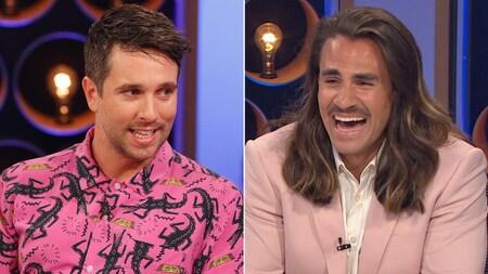 Un montage de 2 photos. Alexandre Barrette, à gauche, porte une chemise rose avec motifs de crocodiles. Jay du Temple, à droite, porte une chemise blanche et un veston rose pâle.
