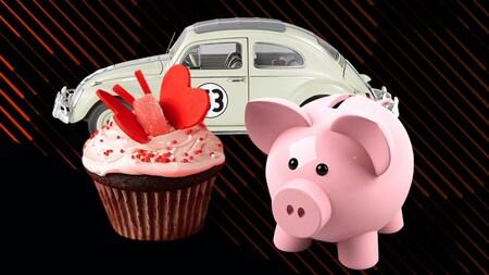Une image avec une tirelire, un petit gâteau et une voiture.