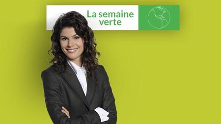 Catherine Mercier est vêtue d'un veston gris-noir. Elle pose devant une bannière de l'émission.