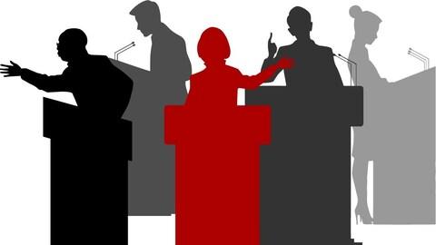 Des silhouettes de candidates et de candidats derrière des podiums