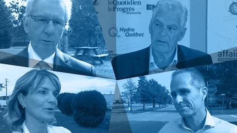 Jean-Pierre Blackburn (indépendant), Arthur Gobeil (indépendant), Josée Néron (Équipe du renouveau démocratique) et Dominic Gagnon (Parti des citoyens de Saguenay)