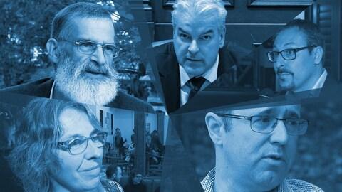 Les cinq candidats à la mairie de Sherbrooke.