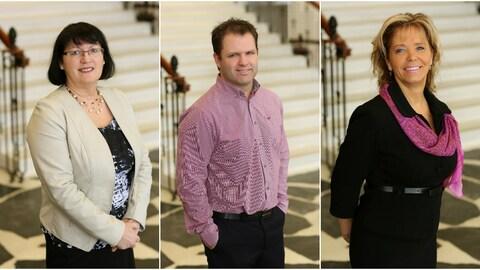 Collage des trois portraits des candidats à la mairie de Dolbeau-Mistassini