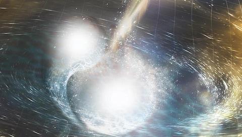 Représentation artistique de la fusion de deux étoiles à neutrons. La grille spatiotemporelle qui ondule représente les ondes gravitationnelles résultant de la collision.