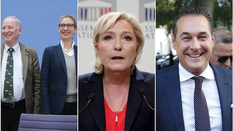 Un montage de trois photos montrant d'abord un homme et une femme de face qui sourient, une femme de face qui a la bouche ouverte comme si elle parlait et un homme qui regarde la caméra en face de lui et qui sourit.