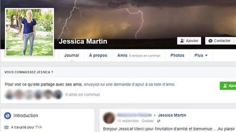 Entête du profil de la fausse journaliste Jessica Martin, où l'on voit sa photo de profil. Elle mentionne avoir travaillé pour TVA.