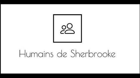 Le vernissage de Humains de Sherbrooke aura lieu mercredi soir chez Estrie Aide. Huit photos seront présentées. On aperçoit ici le logo du projet, qui est un cadre noir dans lequel se trouve le profil neutre de deux personnes.
