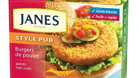Photo d'une boîte de boulettes de poulet surgelé de marque Janes