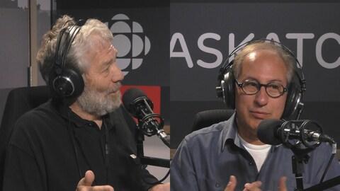 Michel Lalonde et Gilles Groleau dans le studio de Point du jour.