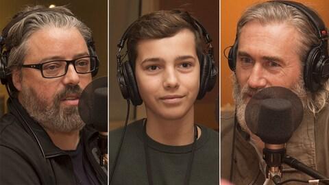 Francis Leclerc, Justin Leyrolles-Bouchard et Roy Dupuis au studio 18 de Radio-Canada, le 16 octobre 2017