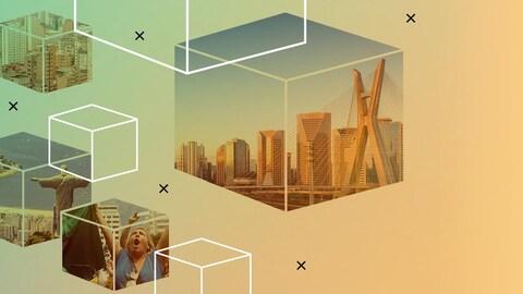 Photomontage de villes brésiliennes.