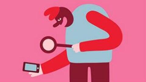 Illustration de Cécile Gariépy. Un homme penche le regard sur son téléphone intelligent muni d'une loupe.