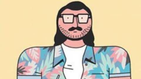 Une illustration de Guillaume Perreault qui représente un homme portant des lunettes et une chemise colorée.