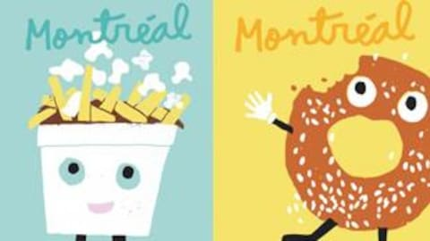 Des illustrations de Francis Léveillée représentant une poutine et un bagel