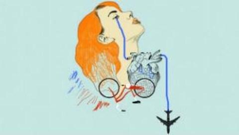 Couverture du livre de Marie Demers, Les désordres amoureux. Dessin d'un visage de jeune femme de profil, elle est rousse et de son oeil coule un trait d'encre bleu qui se prolonge par le dessin d'un avion.
