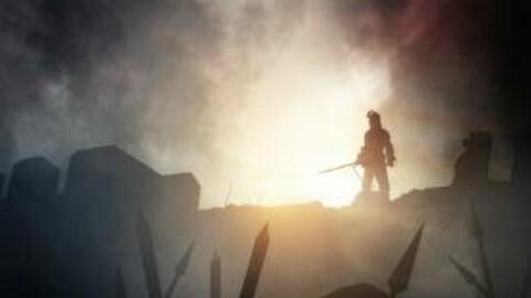 Image de synthèse représentant un conquérant dressé sur les remparts face au champ de bataille.